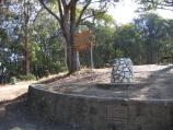 Mount Beauty / Tawonga Gap and lookout, Bright-Tawonga Road / Sign and monument at car park
