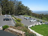 Mount Dandenong / Mount Dandenong Observatory - lookout and cafe/restaurant / View across car park and south-west towards entry gate