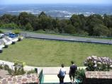Mount Dandenong / Mount Dandenong Observatory - lookout and cafe/restaurant / View across terraced gardens at car park