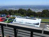 Mount Dandenong / Mount Dandenong Observatory - lookout and cafe/restaurant / Information board on viewing deck, looking west towards Melbourne city centre
