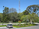 Mount Dandenong / Mount Dandenong Observatory - lookout and cafe/restaurant / View towards English Gardens and transmission tower from entrance to Sky High Restaurant