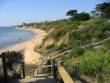 Mount Eliza / Half Moon Bay and Canadian Bay area / View north-east along beach at Canadian Bay from steps at Ballar Creek
