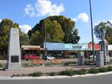 Myrtleford / Shops and commercial centre / War memorial and clock, Myrtle St at Clyde St