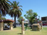Nhill / Shops and commercial centre, Victoria Street and Nelson Street / Draught horse monument and shelter, gardens in centre of Victoria St