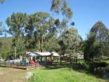 Noojee / Parkland along La Trobe River, east side of Bennett Street / View west along river towards playground and BBQ shelter