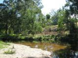 Noojee / Parkland along La Trobe River, east side of Bennett Street / Sandy beach at bend in river near BBQ shelter