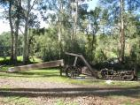 Noojee / Parkland along La Trobe River, McCarthy Spur Road / Old tramway equipment display, Loch Valley Tramway Walk at Loch River