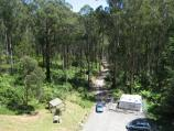 Noojee / Trestle Bridge, Mount Baw Baw Road / View down to car park from top of trestle bridge