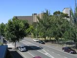 North Melbourne / Boundary Road area / View north along Boundary Rd towards apartment buildings from footbridge at Mark St