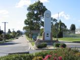 Orbost / Commercial centre and shops / War memorial and clock tower, view north along Nicholson St at Salisbury St