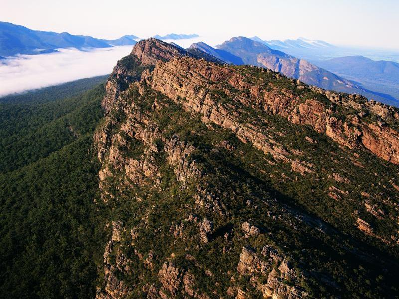 Grampians National Park - Aerial view over mountain range