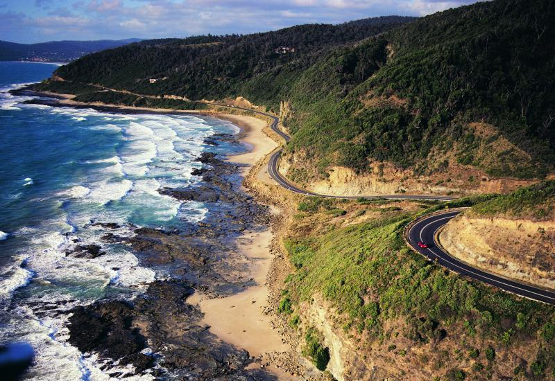 Great Ocean Road coast - View south-east along Great Ocean Road towards Lorne