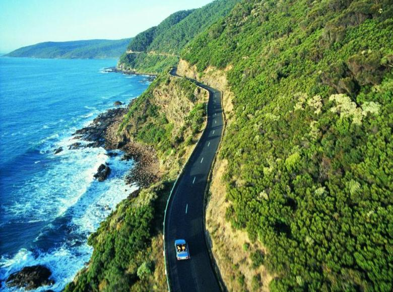Great Ocean Road coast - Aerial view of Great Ocean Road