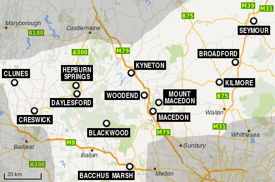 Daylesford and Macedon Ranges region map