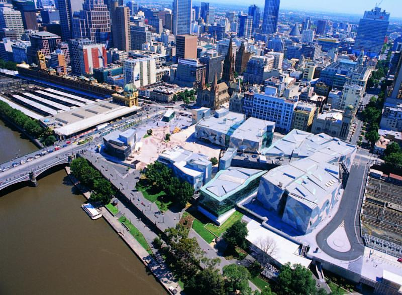 Melbourne City - Aerial view of Federation Square