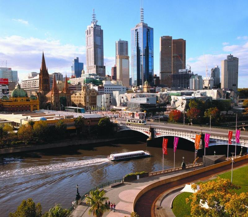 Melbourne City - View of city, Federation Square and Princes Bridge from Southbank