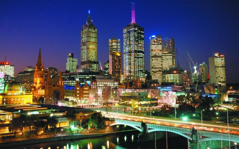 Melbourne City - Night view of city, Federation Square and Princes Bridge from Southbank