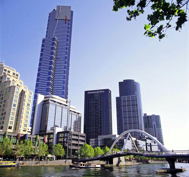 Melbourne City - View along Yarra River and Southbank towards Eureka Tower