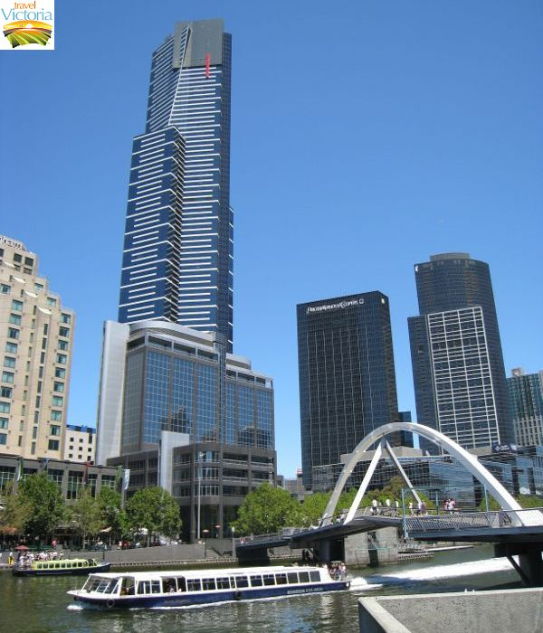 Eureka Skydeck, Southbank - View across Yarra River at Evan Walker Bridge towards Eureka Tower