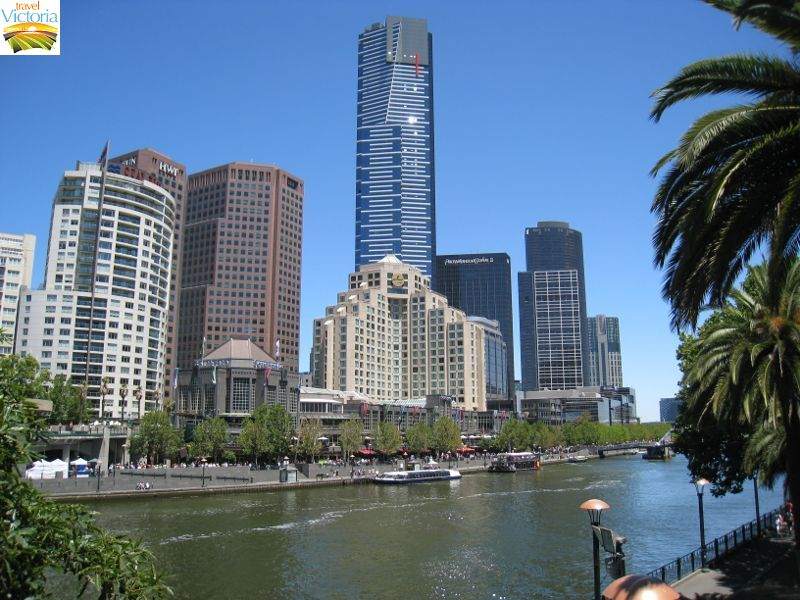 Eureka Skydeck, Southbank - View along Yarra River towards Southgate Shopping Centre and Eureka Tower