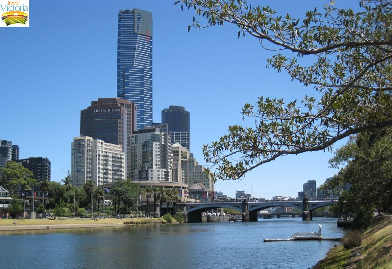 Eureka Skydeck, Southbank - View along Yarra River at Birrarung Marr towards Princes Bridge and Eureka Tower