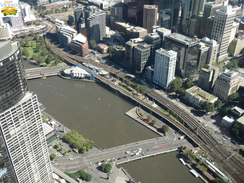 Eureka Skydeck, Southbank - Yarra River between Kings Bridge and Queens Bridge