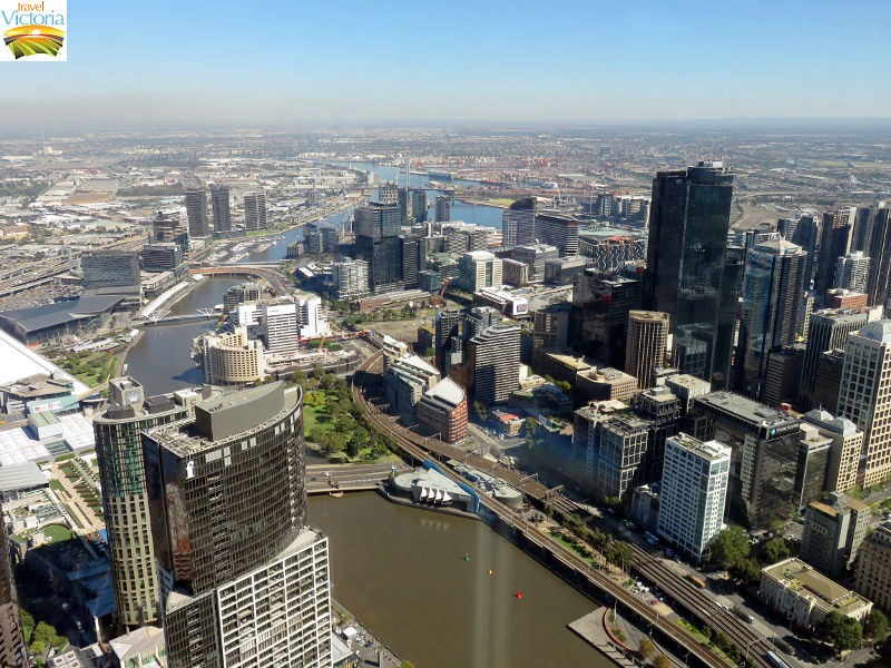 Eureka Skydeck, Southbank - Westerly view along Yarra River and across Melbourne CBD towards Docklands