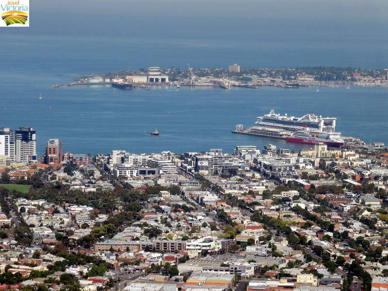Eureka Skydeck, Southbank - View over Port Melbourne towards Hobsons Bay and Williamstown