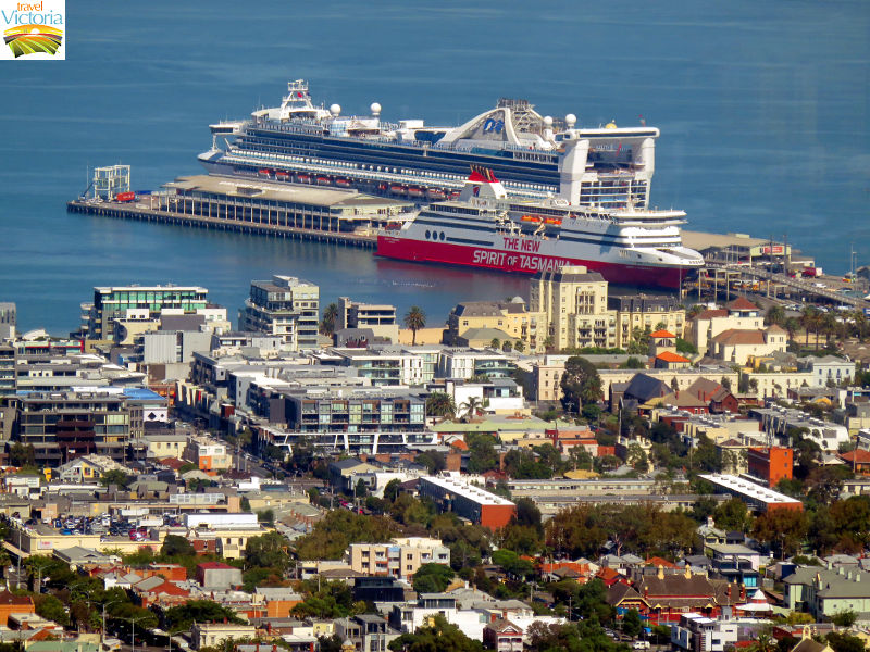 Eureka Skydeck, Southbank - Spirit of Tasmania and a cruise ship docked at Station Pier, Port Melbourne