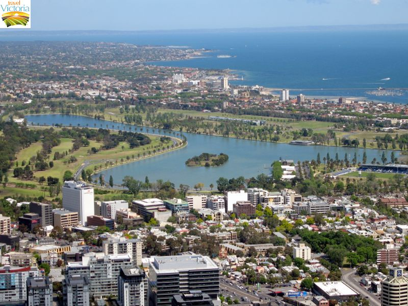 Eureka Skydeck, Southbank - Albert Park Lake and St Kilda