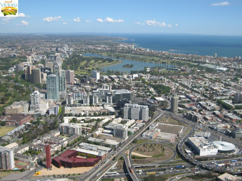 Eureka Skydeck, Southbank - View across Southbank and South Melbourne, towards Albert Park