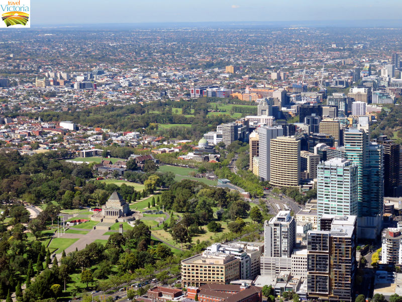 Eureka Skydeck, Southbank - Shrine of Remembrance and St Kilda Road