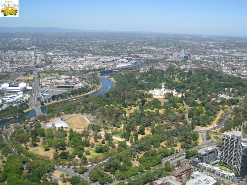 Eureka Skydeck, Southbank - Easterly view towards Kings Domain, Yarra River and Government House