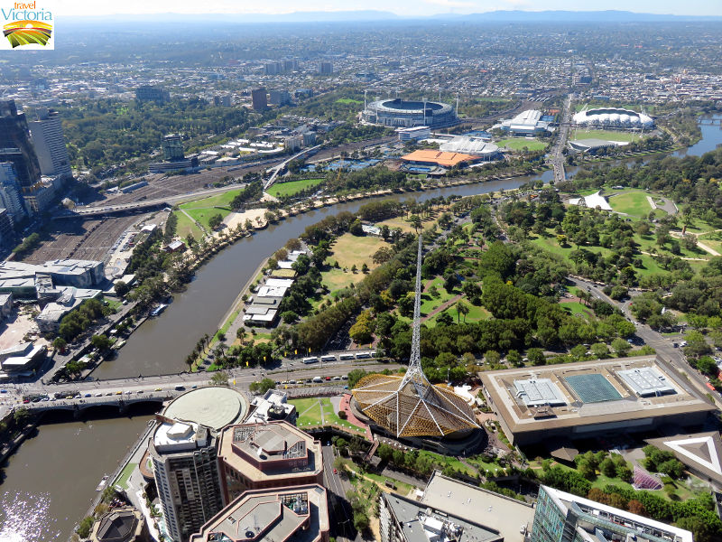 Eureka Skydeck, Southbank - Princes Bridge, Yarra River, Arts Centre and Kings Domain