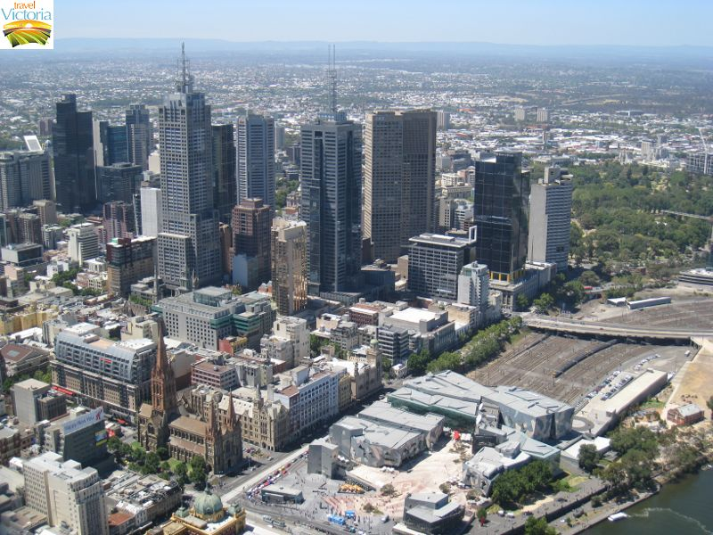 Eureka Skydeck, Southbank - North-easterly view across Federation Square and Melbourne CBD