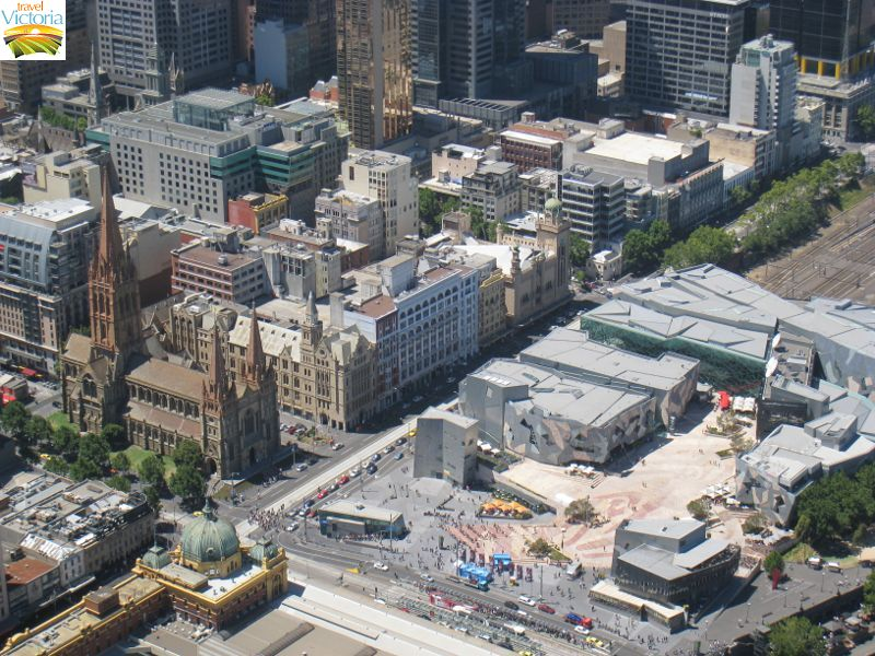 Eureka Skydeck, Southbank - Federation Square and St Pauls Cathedral