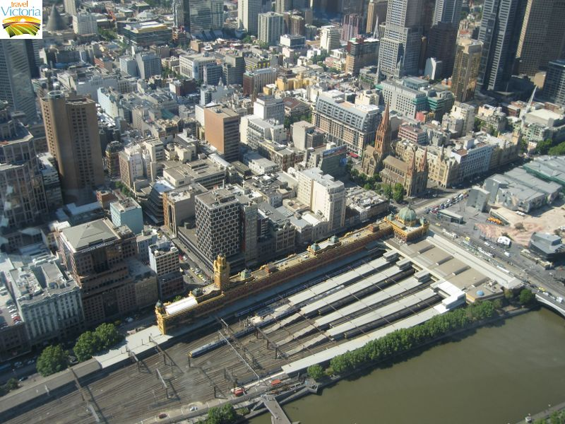 Eureka Skydeck, Southbank - Flinders Street Station and northerly view over Melbourne CBD