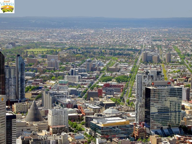 Eureka Skydeck, Southbank - Northerly view over Melbourne CBD towards Carlton