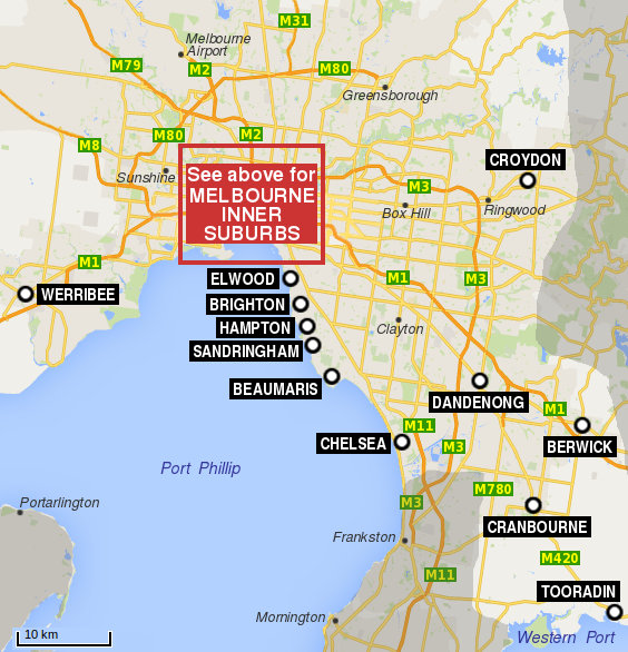 Map Melbourne Suburbs Melbourne & Suburbs map   Travel Victoria: accommodation & visitor  Map Melbourne Suburbs