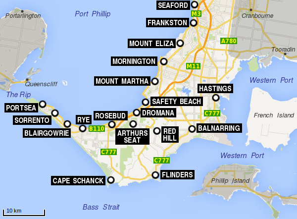 Map Of Mornington Peninsula Mornington Peninsula map   Travel Victoria: accommodation