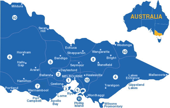 Victorias regions cities and towns Travel Victoria – East Coast Tourist Attractions Map