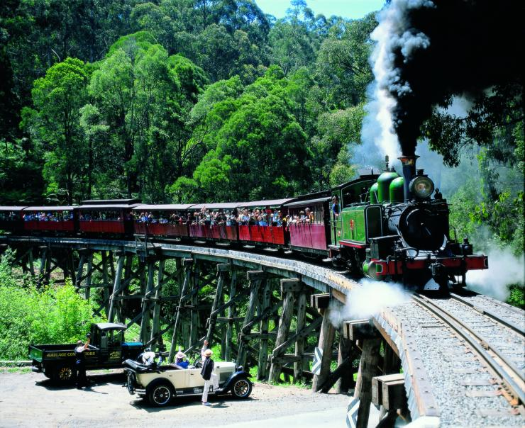 The Dandenongs - Puffing Billy going over bridge at Belgrave