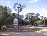 Robinvale / Area round Euston Bridge over Murray River / Historic windmill and caravan park, corner Murray Valley Hwy and River Rd