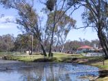 Shepparton / Victoria Park Lake, Goulburn River, Aquamoves centre / View north along Victoria Park Lake towards S Cape Skate Park