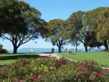 Sorrento / Sorrento Historic Park, Hotham Road / View through rose garden towards bay and Arthurs Seat