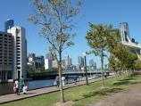 Southbank / South Wharf / Easterly view at Melbourne Exhibition Centre towards Spencer Street Bridge and city skyline
