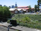 South Melbourne / South Melbourne tram station / View east towards Coventry St and South Melbourne Market from footbridge