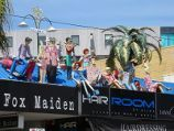 St Kilda / Acland Street shops / Sculptures on roof of Hair Room Salon, Acland St near Belford St