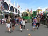 St Kilda / Luna Park, The Esplanade / Party tram in front of food outlets