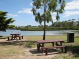 Tooradin / Landing Reserve picnic area fronting Sawtells Inlet, southern end of Foreshore Road / View through picnic area towards Sawtells Inlet